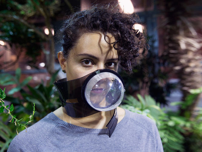 <p>University of Pennsylvania students Ji won Woo and Mónica Butler's 'Stabilimentum' project involves a air purification mask made from spider webs.</p>