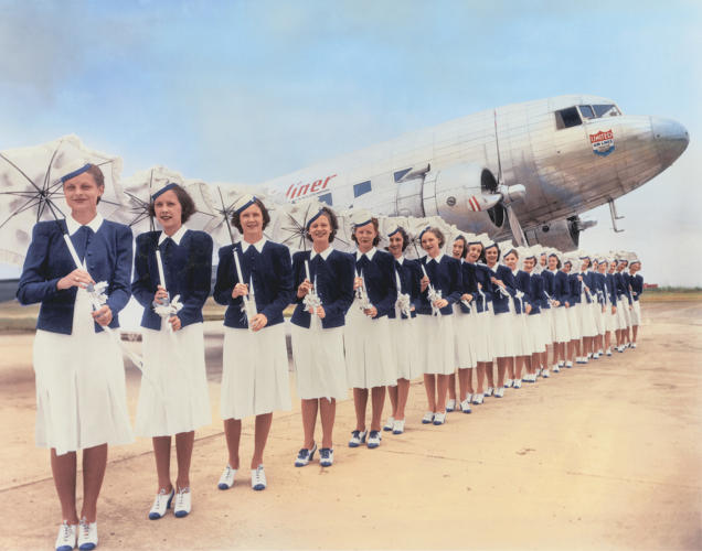 <p>United Air Lines stewardesses, 1939</p>