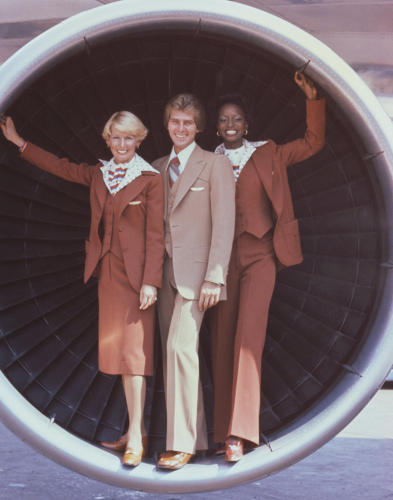 <p>United Airlines flight attendants in uniforms by Stan Herman, 1976</p>