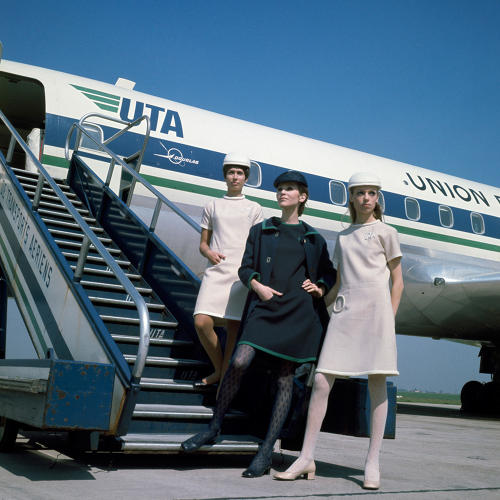 <p>Union de Transport Aériens stewardesses in uniforms by Pierre Cardin, 1968</p>