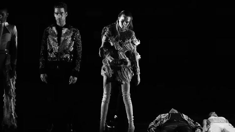 <p>A selection of models in the video for &quot;Wolves&quot;</p>