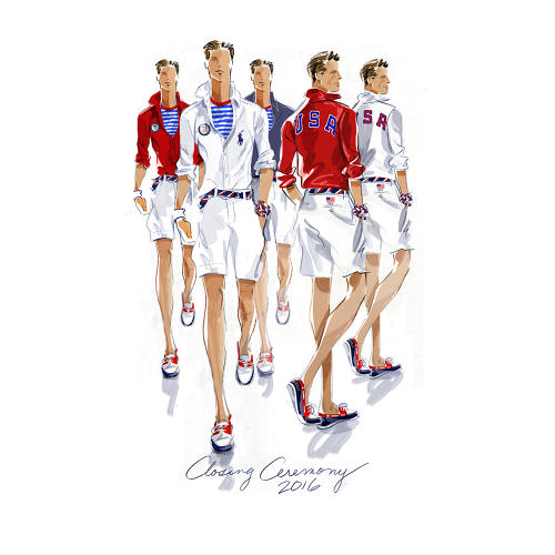 <p>Sketch of the 2016 closing ceremony outfits</p>
