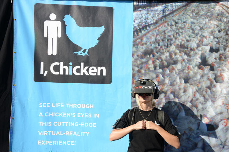 "<p>PETA also launched ""I, Chicken,"" a VR experience lets people move around while seeing their reflection as a feathery avatar.</p>"