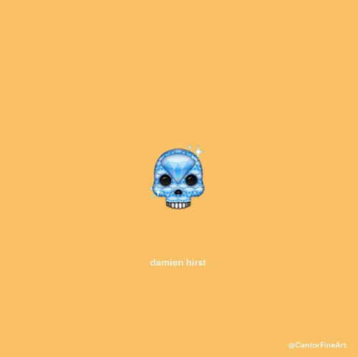 <p>A bejeweled Damien Hirst skull</p>