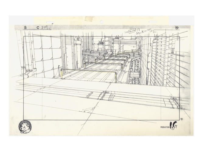 <p>Layout for Ghost in the Shell (1995), cut 509<br /> Pencil and coloured pencil on printed paper. Illustrator: Takashi Watabe.</p>