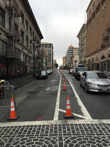 <p>On Golden Gate Avenue, for example, a new painted bike lane was ignored by cars, and it was filled with traffic.</p>
