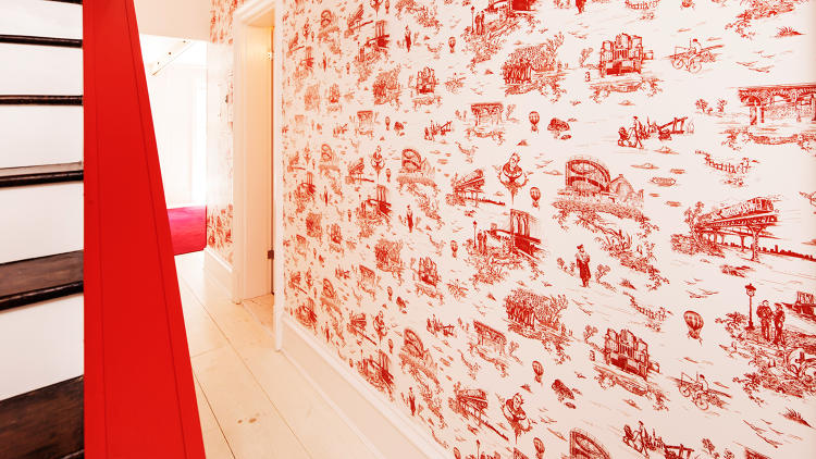 <p>Mike Diamond of the Beastie Boys designed a Brooklyn-inspired toile wallpaper that incorporates the NYC subway, Hasidic Jews, and Notorious B.I.G.</p>