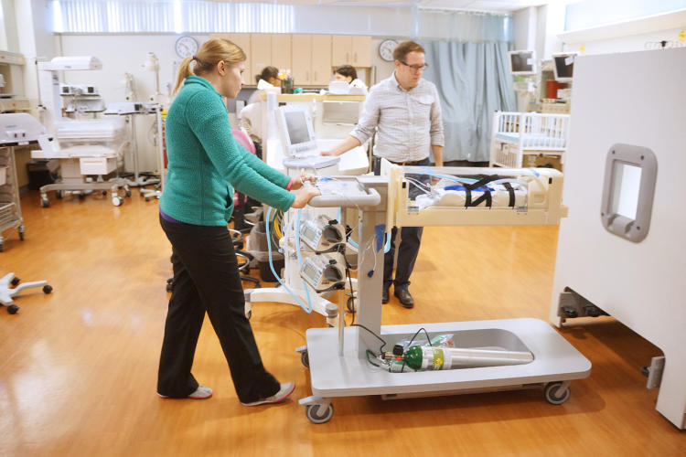 <p>Full scale experience prototypes were tested in the neonatal intensive care unit.</p>