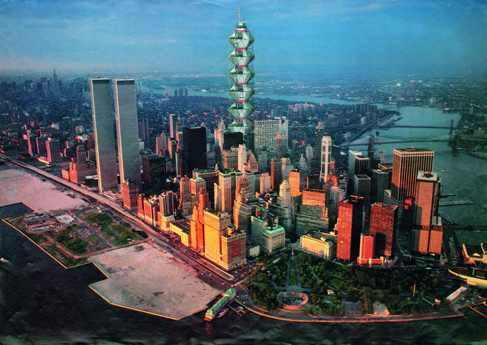 <p>Future Systems' <em>Coexistence</em> (1984) is a skyscraper that responds to population growth with a tower that would accommodate 10,000 people.</p>