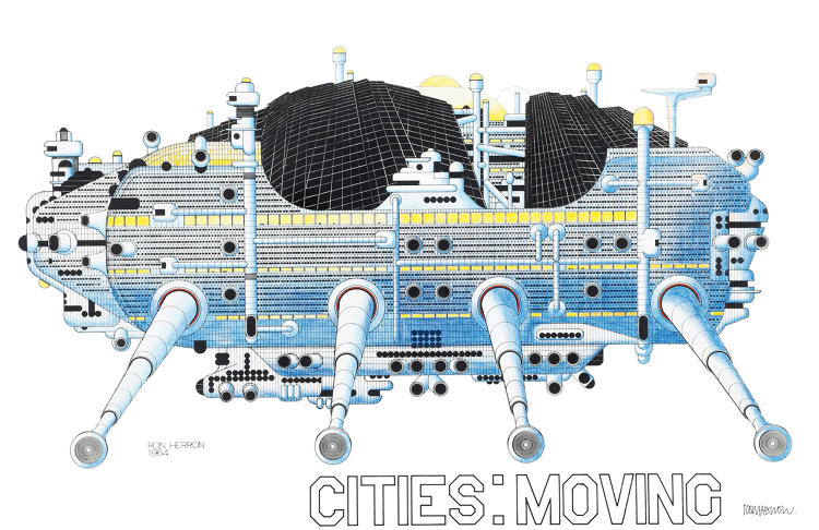 <p>Archigram's, <em>Walking City </em> (1964) is a self-sufficient mobile structure designed to be placed in inhospitable environments.</p>