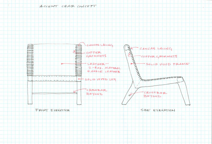 <p>Here's an early sketch of a concept for a leather accent chair with canvas lacing.</p>
