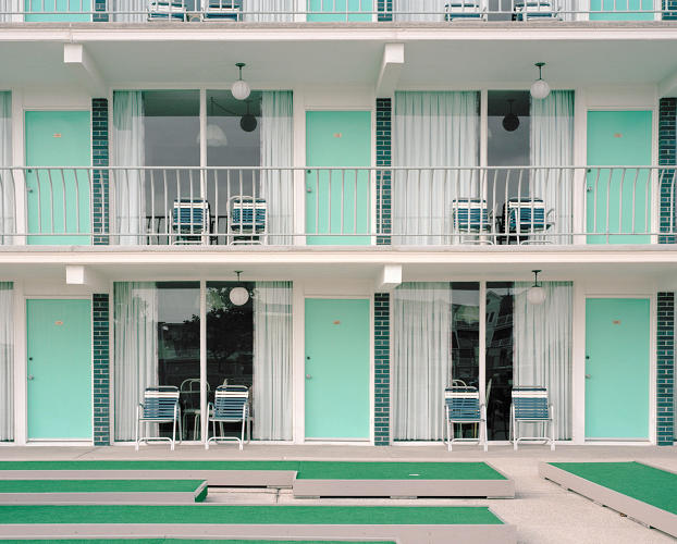 <p>The Yankee Clipper Motel's sea foam doors watch over empty putting greens.</p>