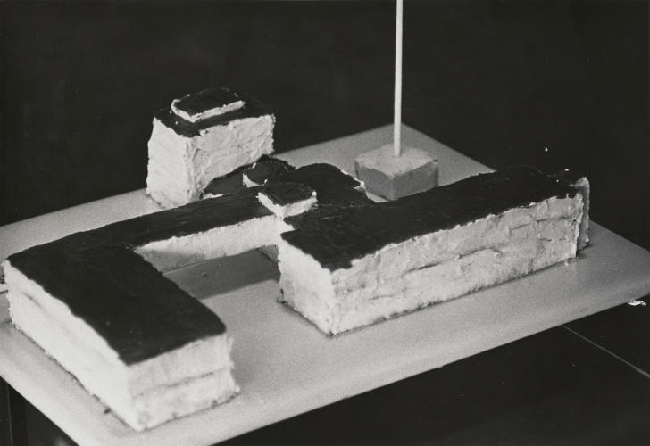 <p>Bauhaus cake made for Walter Gropius's 80th birthday party, 1963. Walter Gropius Papers (BRM 4), file 22.</p>