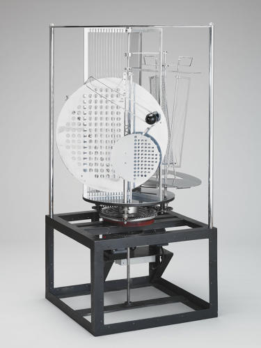 <p>László Moholy-Nagy, Light Prop for an Electric Stage (Light-Space Modulator), 1930. Aluminum, steel, nickel-plated brass, other metals, plastic, wood, and electric motor. Harvard Art Museums/Busch-Reisinger Museum, Gift of Sibyl Moholy-Nagy, BR56.5.</p>