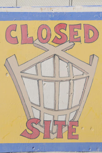 <p>A sign at the Man build site in Black Rock City.</p>