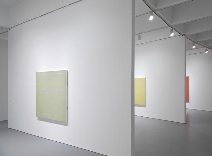 <p>Installation view of <em>Band in Boston</em>, 1962; <em>Bed of Roses (partial)</em>, 1962; and <em>Untitled (partial)</em>, 1962, in <em>Robert Irwin: All the Rules Will Change</em> at the Hirshhorn Museum and Sculpture Garden, 2016.</p>
