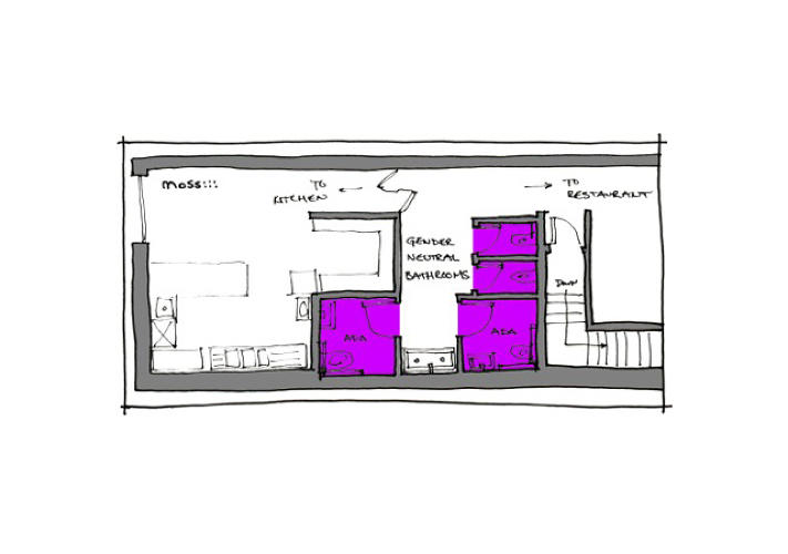 <p>A drawing of a gender-neutral bathroom plan designed by Chicago-based firm Moss.</p>