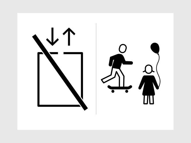 <p>An icon instructing kids not to play on elevators. One of the camps Bauer worked with is located at the University of Applied Arts in Vienna.</p>