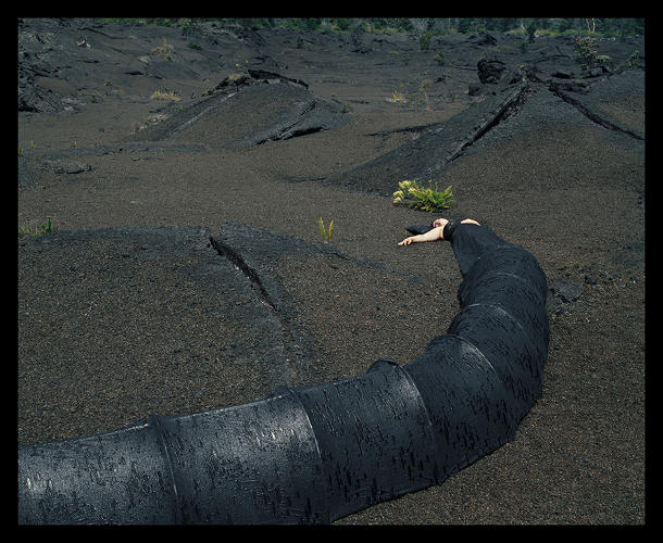 <p><em>Lava Tube Top Dress Tent </em>(Installed in Kilauea Crater, Hawai'i), 2004</p>