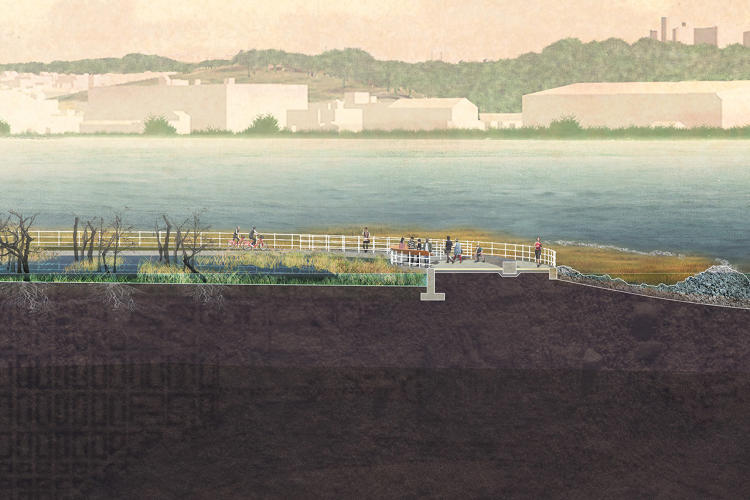 <p>The proposed memorial would plant rows of cherry trees—the iconic symbol of D.C.—on a gentle slope that extends to the water's edge.</p>