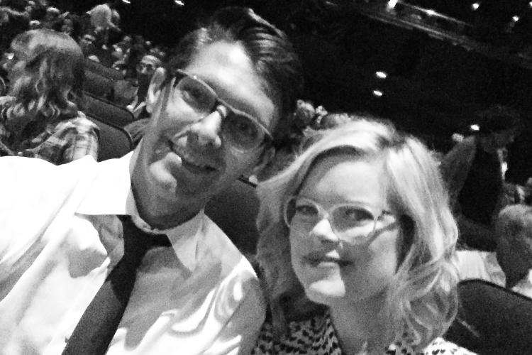 <p>In the theatre with my husband Ryan Devlin minutes before the premiere</p>