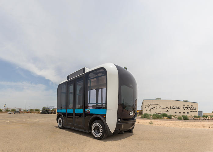 <p>Plastered with 30 sensors, from lidar and radar to cameras, the slow-driving Olli can spot pedestrians far earlier than a human driver.</p>