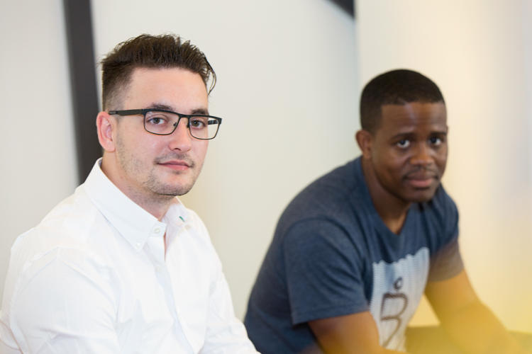 <p>Bites CEO <strong>Cam Burley</strong>, at right, with cofounder <strong>Libor Zahradka</strong></p>