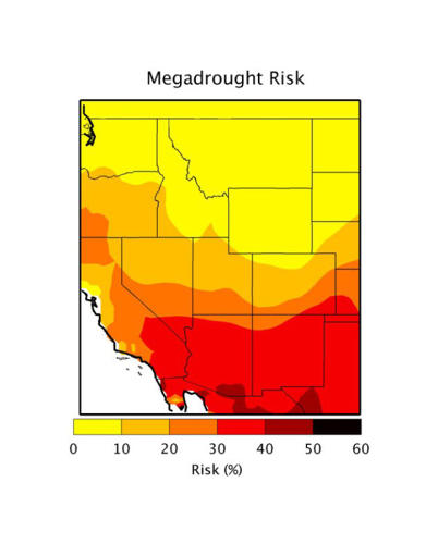 <p>At lower temperatures, and with greater rainfall, the risk level falls to between 20% and 50%.</p>