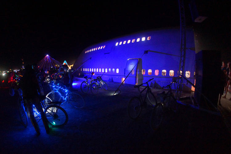 <p>Exterior mood lighting during the 747's opening night party during burn week.</p>