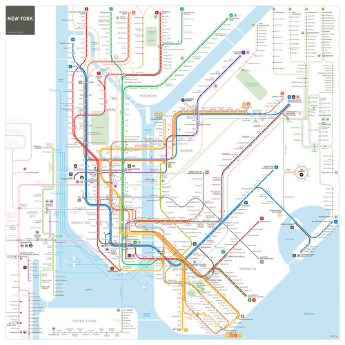 <p>The metro maps cover 40 cities, took 5 years to make, and fill 160 pages. Here is New York.</p>
