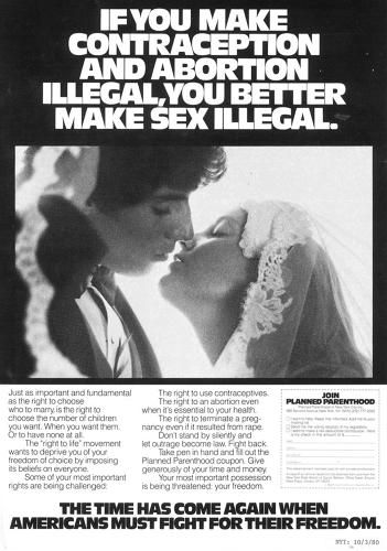 <p>Planned Parenthood placed this ad in the <em>New York Times</em> in 1980.</p>