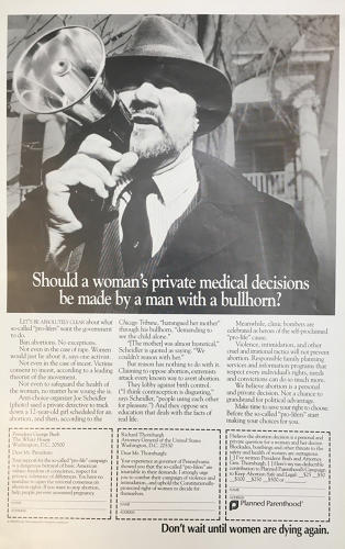 <p>A 1989 <em>Time</em> ad showed Joe Scheidler, an anti-choice organizer, and included cut-out messages to send to the president in support of the organization.</p>