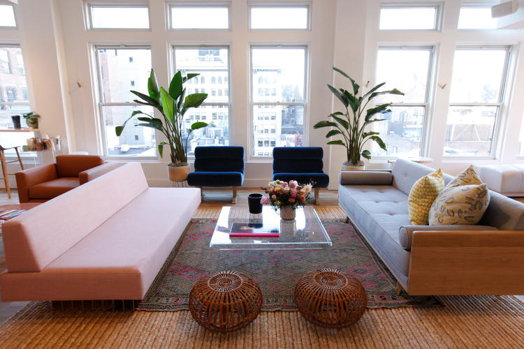 <p>Co-founder Audrey Gelman wanted The Wing to feel like the apartment of a cool Scandinavian artist.</p>