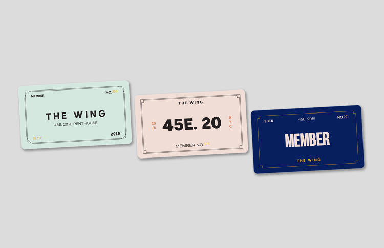 <p>The Wing's membership cards come in four styles, each slightly different to emphasize the diversity of personality among the club's members.</p>