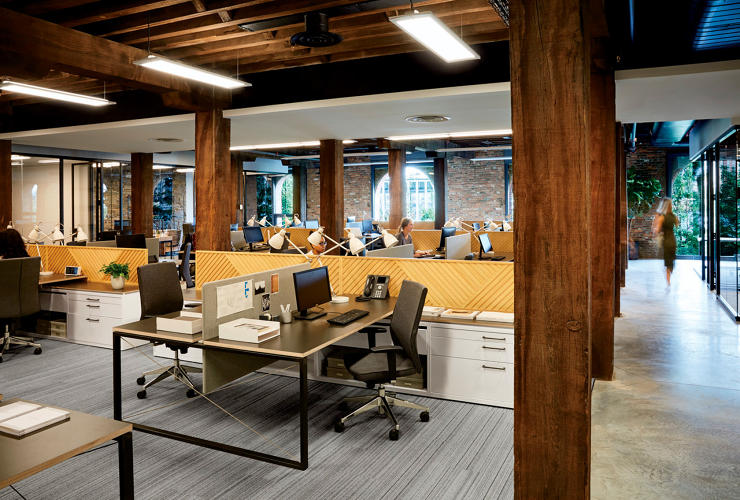 <p>The designers specified different workstations for each department to give the office a more diverse aesthetic.</p>