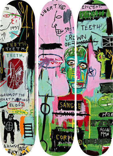 <p>Skate decks decorated with the art of Jean Michel Basquiat.</p>