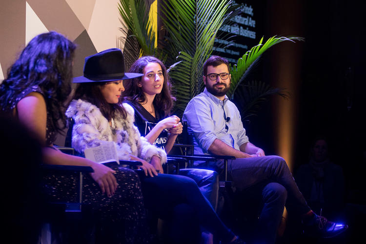 <p>Segran, Agrawal, Sustain Natural cofounder Meika Hollender, and Grinder for Equality director Jack Harrison-Quintana.</p>