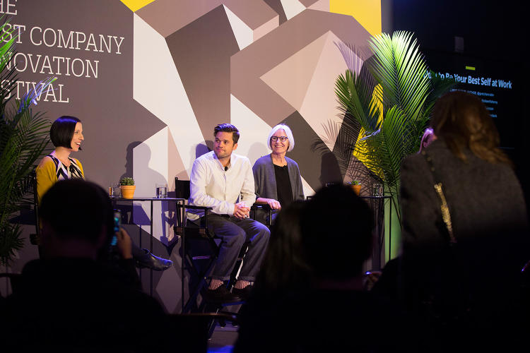 <p>Gretchen Rubin, Rich Pierson, and Eileen Fisher at the 2016 Fast Company Innovation Festival</p>