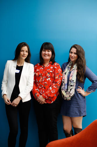 <p>From left: CEO and cofounder of The Muse, Kathryn Minshew; CEO and cofounder Policy Genius, Jennifer Fitzgerald; cofounder and CEO WayUp, Liz Wessel.</p>