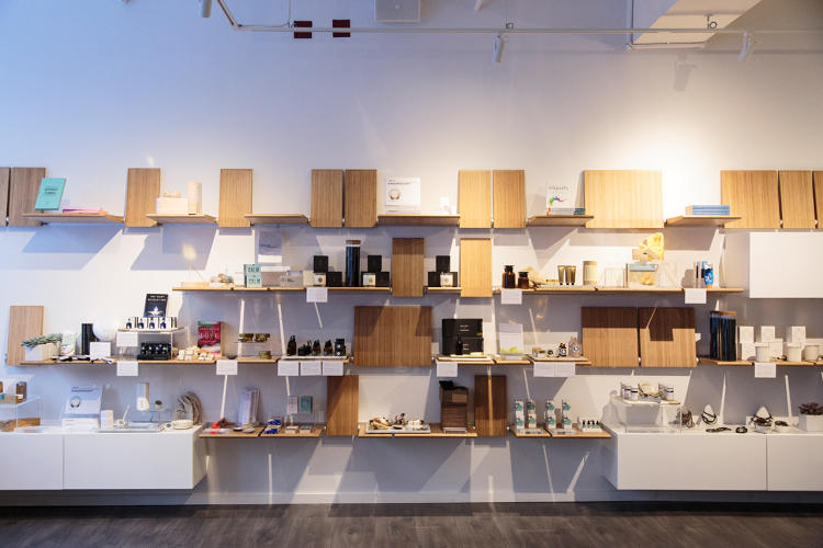 <p>Shelves displaying a carefully curated array of retail products.</p>