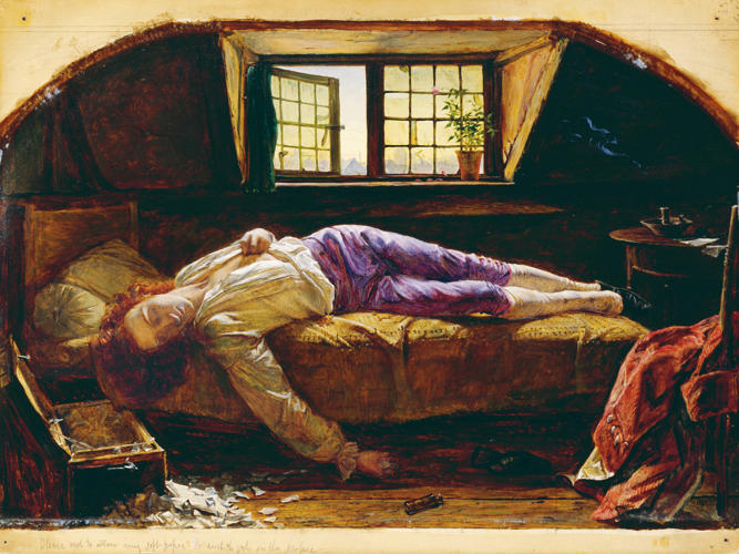 <p><em>Chatterton</em> (1856) by Henry Wallis shows the suicide by arsenic poisoning of the poet Thomas Chatterton in a highly romanticized light.</p>