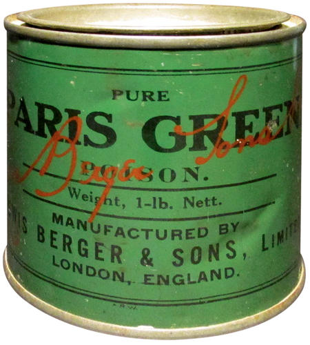 <p>Victorian arsenical household product, Paris Green, a rodent and insect poison</p>