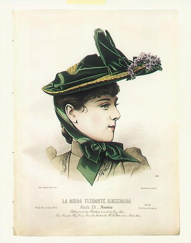 <p>Fashionable green hat from Madrid (1870). Before arsenical dyes, shades had been much less intense and non-colorfast.</p>