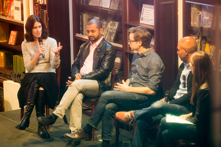 <p>(L to R) IBM CMO <strong>Michelle Peluso</strong> talks diversity with entrepreneur <strong>Anil Dash</strong>, local VC <strong>Matt Turck</strong>, Sprinklr CEO <strong>Ragy Thomas</strong> and <strong>Julie Samuels</strong>, executive director of Tech:NYC.</p>