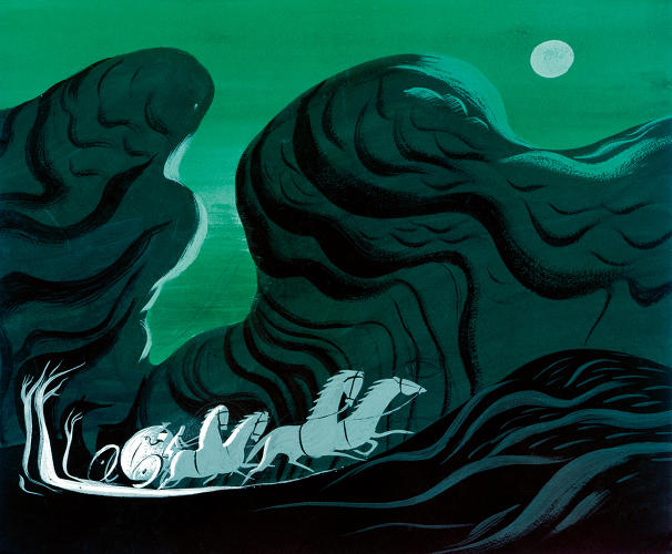 <p>Cinderella's carriage races into the night before the spell breaks in this concept piece by Mary Blair.</p>