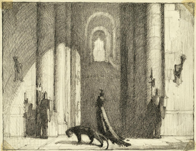 <p>An early concept illustration of the Queen pacing in her castle, accompanied by a black leopard.</p>