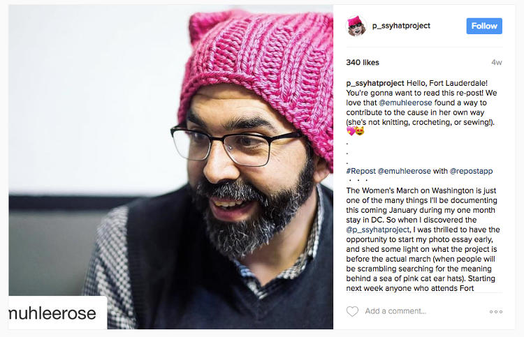 Image result for mAn wearing pussyhat