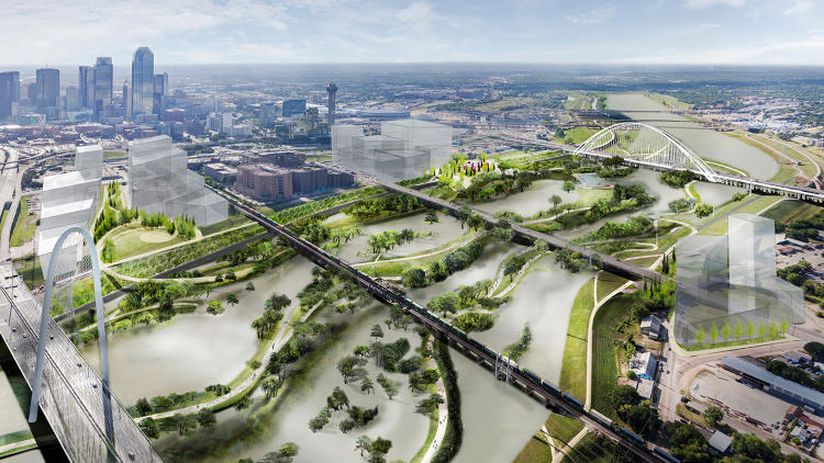 <p>A network of new roads will open the floodplain to cyclists, cars, and pedestrians.</p>