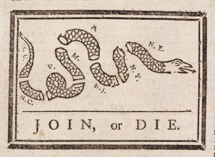 <p>Ben Franklin's now-iconic image, published in 1754, represented the colonies as pieces of a serpent that--together--could be deadly.</p>