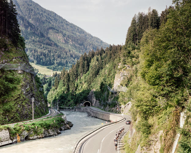 <p>In the Alps, he photographed structures designed to prevent avalanches, which climate change can make more common.</p>
